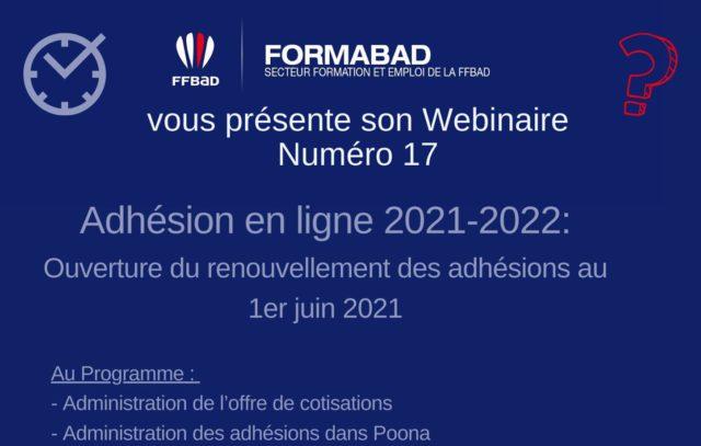 WEBINAIRE N°17 : adhésion en ligne 2021/2022